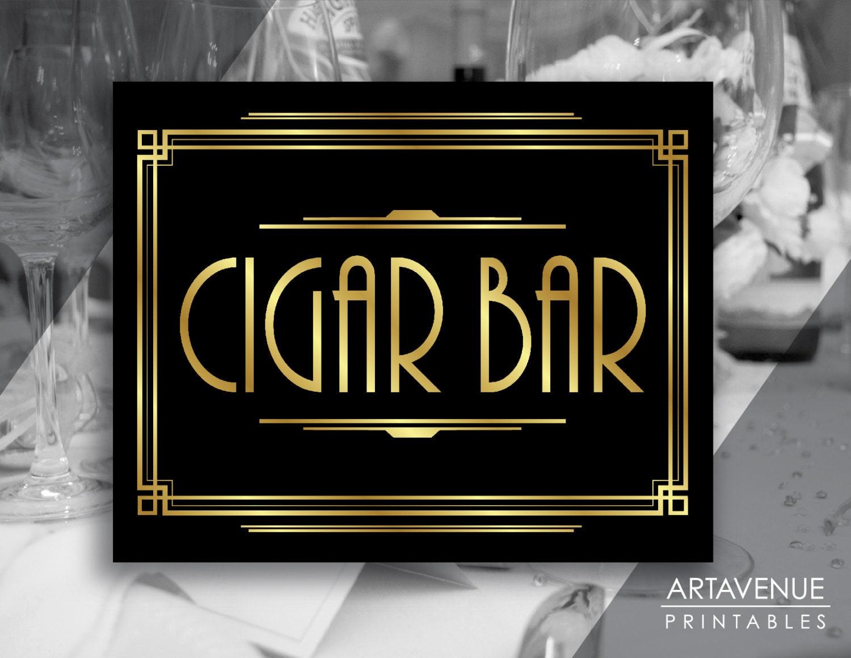 Gatsby Bar Decor Printable Cigar Bar Sign Gatsby Party