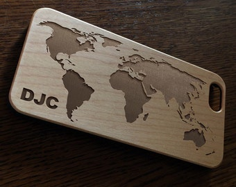 World Map Real Wood iPhone Case wooden iPhone 7 case   iPhone 6 Cover   iPhone 6S Case   Real Wood Case   Laser Engraved iPhone 6 Plus Case