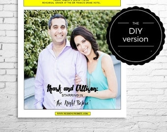 PLAYBILL Broadway POSTER or CENTERPIECE Template for Wedding Reception or Rehearsal Dinner, 1 photo, many sizes, Digital File