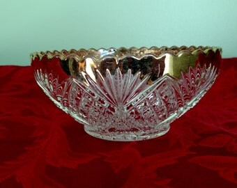 Early American Pressed Glass Berry Bowl w/ Gold Trim