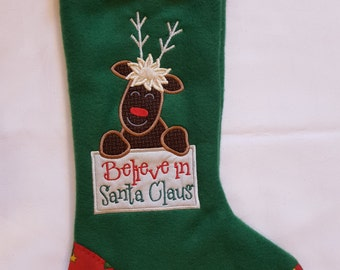 Moose Christmas Stocking, Believe in Santa Christmas Stocking,  Boys Christmas Stocking, Green Christmas Stocking, Personalized Stocking