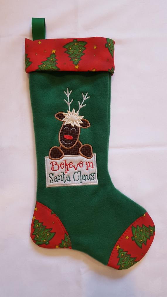 Moose christmas stocking believe in santa by
