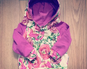For baby and child, flowers fuschia Hoodie made by a MOM