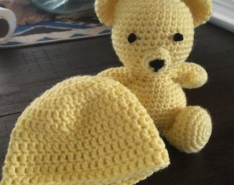 Handmade Crochet Teddy Bear and Beanie Set
