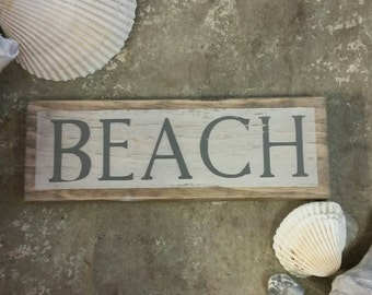 Rustic distressed BEACH wooden sign