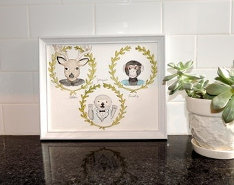 """Custom watercolor and ink portrait as your spirit animal - 8""""x10"""" three person family painting"""