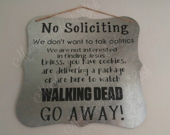 Metal No Soliciting sign - TWD