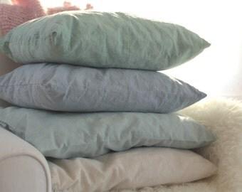 Linen cushion colourful cushions linen aqua hand-dyed linen pillow pillowcase linen aqua sofa cushions linen pillow dyed linen cushion covers