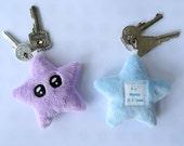 Porte-clés kawaii étoile bleue en peluche - bijou de sac - fête des mères - maman je t'aime