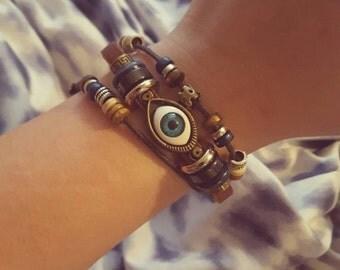 Leather and cord eye bracelet adjustable sliding knot