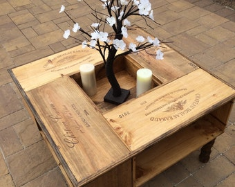 Repurposed wine box coffee table