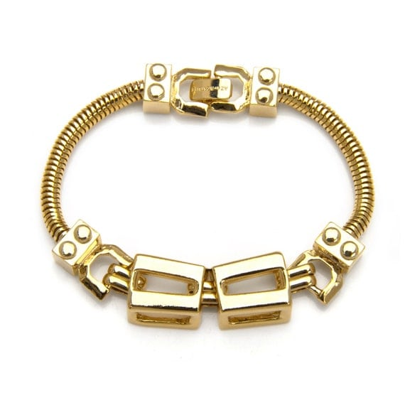 Rectangle Chain Link and Snake Chain Bracelet