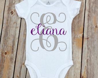 Baby Girl Onesie, Baby Girl Monogram, Monogramm Girl Onesie Gift with Glitter, Baby Girl Onesie, Baby Girl Gift, Shower Gift, Monogram Gift