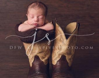 Newborn Photography Digital Prop Background - Cowboy Boots