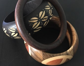 Vintage Wood Bangle Bracelets Set of Three