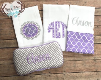 Personalized Baby Wipe Case and Burp Cloths Set, Lavendar and Gray Baby Girl Gift Set, Baby Shower Gift
