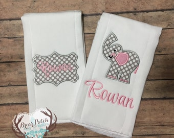 Personalized Baby Girl Elephant Burp Cloth Gift Set, Monogrammed Baby Pink and Gray Burp Cloth Set, Baby Shower Gift