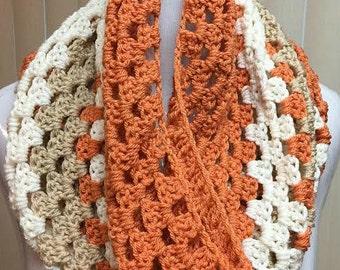 Crochet Cowl, Crochet Scarf, Granny Stitch Cowl, Cowl Scarf, Beige Scarf, Granny Stitch Scarf, Crocheted Scarf, Cowl, Scarf