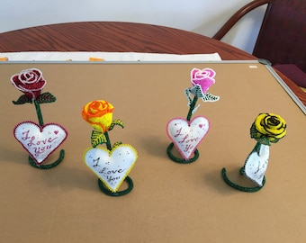 Glass Bead Rose with I Love You Message