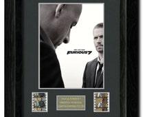 Fast & Furious 7 Framed Film Cell, Mini Poster, Photo, Paul Walker