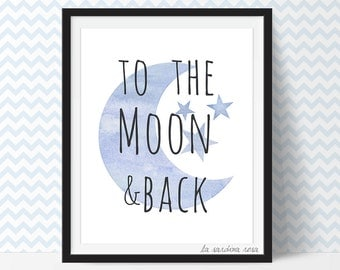 Baby room decor, Nursery wall art, to the moon and back print, baby shower gift, blue nursery printable decor #0001B