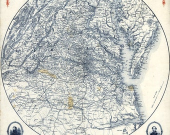 1864 Map of Richmond Virginia Area