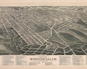 1891 Aerial Panoramic Map of Winston-Salem North Carolina