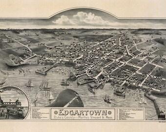 1886 Panoramic Map of Edgartown Duke's County Martha's Vineyard Mass