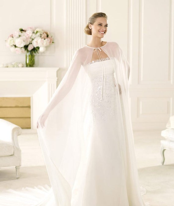 Chiffon cover up bridal dress simple bridal cap by for Cover up wedding dress