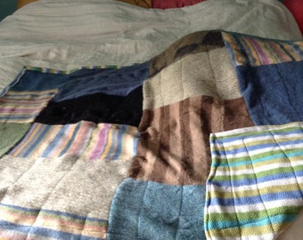 Upcycled felted wool quilt