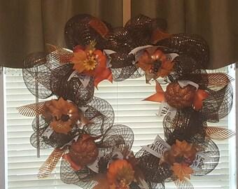 16 inch deco mesh fall wreath
