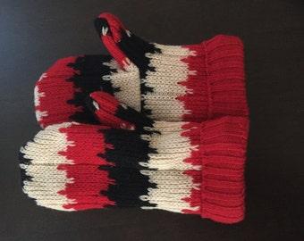 Wool Sweater Mittens, Retro Stripes