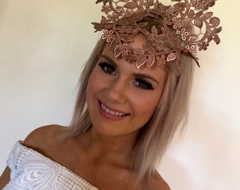 Rose gold lace crown