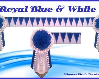 Royal Blue & White Carnation Browband