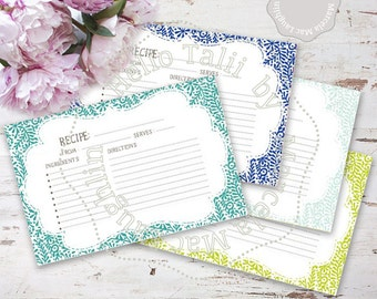 Recipe Cards 4x6 Printable BRIDAL SHOWER Recipe Cards- Floral Vintage style cards 4 colors blue teal green flowers Bridal Shower cook book