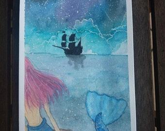 Mermaid original watercolor painting