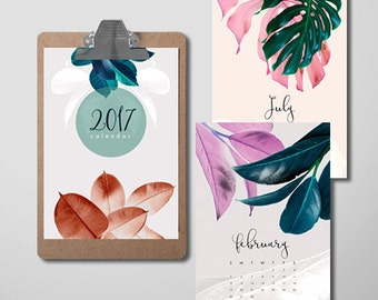 2017 Printable Calendar, 2017 Wall Calendar, 2017 Monthly Calendar, Calendar Download, Gifts Under 20, Printable Women Gift, Wall Calendar