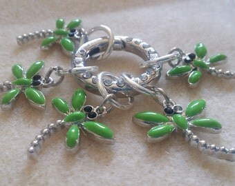 knit marker/Stitchmarkers/Dragonfly markers/Green stitchmarkers/Insect stitchmarkers/place marker/