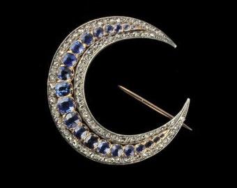 Sapphires diamonds growing pin pink gold 18K silver