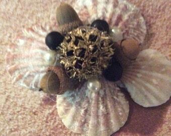 NATURES ORNAMENTS, Seashells,, Acorns, Subgum Pods,Wooden beads,Pearl