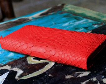 Red Leather Wallet | Python Wallet | Snakeskin Wallet | Zip Wallet | Exotic Leather Wallet  | Women's Wallet | Python Purse | Luxury Wallet