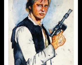 Han Solo Watercolor Print