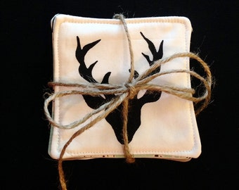 Woodland fabric coasters (set of 4)