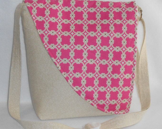 Featured listing image: Crossbody Bag - Off white Base with Pink and Tan Teardrop Pattern Flap
