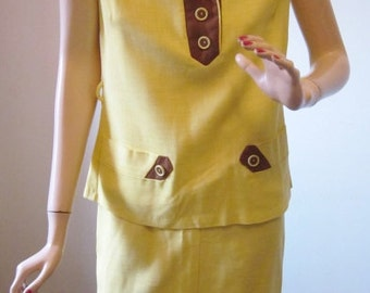 70s Vintage Summer Suit 2 Piece Sleeveless Vintage 1970s Yellow & Brown Linen