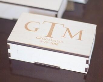 Groomsmen Gift Box - hand made wooden gift box for groomsmen, best man. Groomsmen best man, father of the bride gift box.