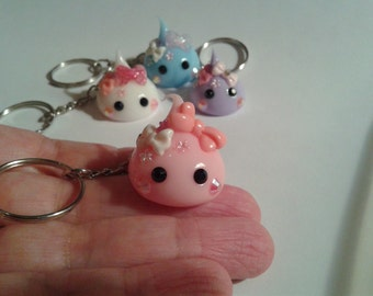 Japanese Silicone Drop Key Chain, Cute Bows, 3 Colors, Fairy Kei, Magical Girl