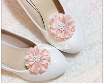 Custom made Bridal shoes clips wedding shoes clips fabric flower shoes clips