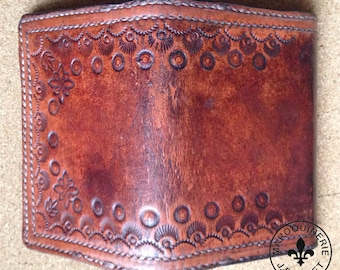 Handcrafted Distressed Antique Mahogany Business Card Holder / Wallet