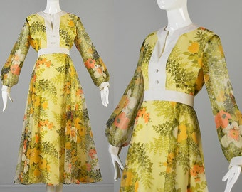 Vintage 70s Yellow Empire Waist Long Sleeve Maxi Dress Floral Print Chiffon Prom Formal